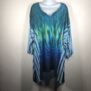 Catherines blue and green tunic size 5X